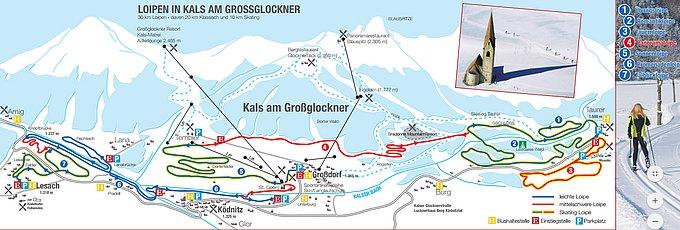 Loipenkarte - Loipen in Kals am Großglockner