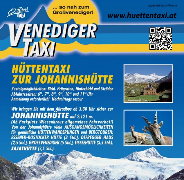 Venedigertaxi – Hüttentaxi zur Johannishütte 2.121m