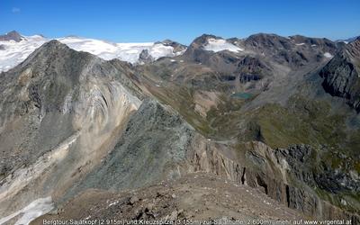 Bergtour Sajatkopf (2.915m) und Kreuzspitze (3.155m) zur Sajathütte (2.600m)