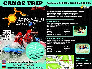 Infofolder mit Preisliste zum Download - Adrenalin Outdoor Sports