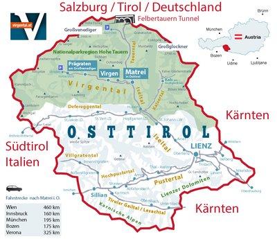 Osttirol Karte Landkarte | Virgental - Matrei i. O. - Virgen - Prägraten a. G.