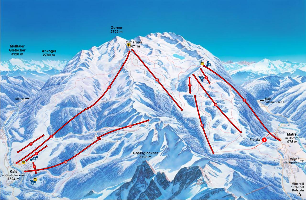 Interaktiven Pistenplan Skigebiet Großglockner Resort Kals–Matrei
