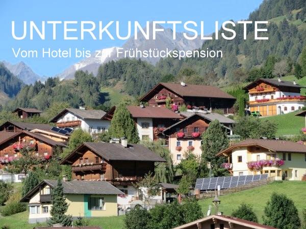 Unterkunftsliste - Sämtliche Unterkünfte im Virgenta und Matrei in Osttirol.