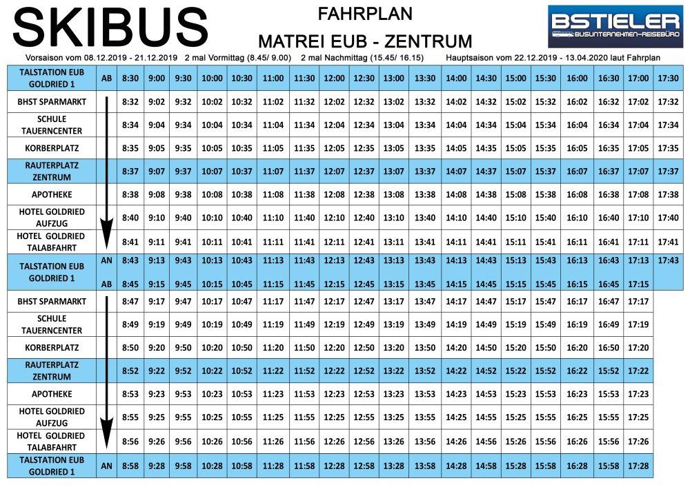Skibus Fahrplan Matrei Zentrum | Skigebiet Großglockner Resort Matrei
