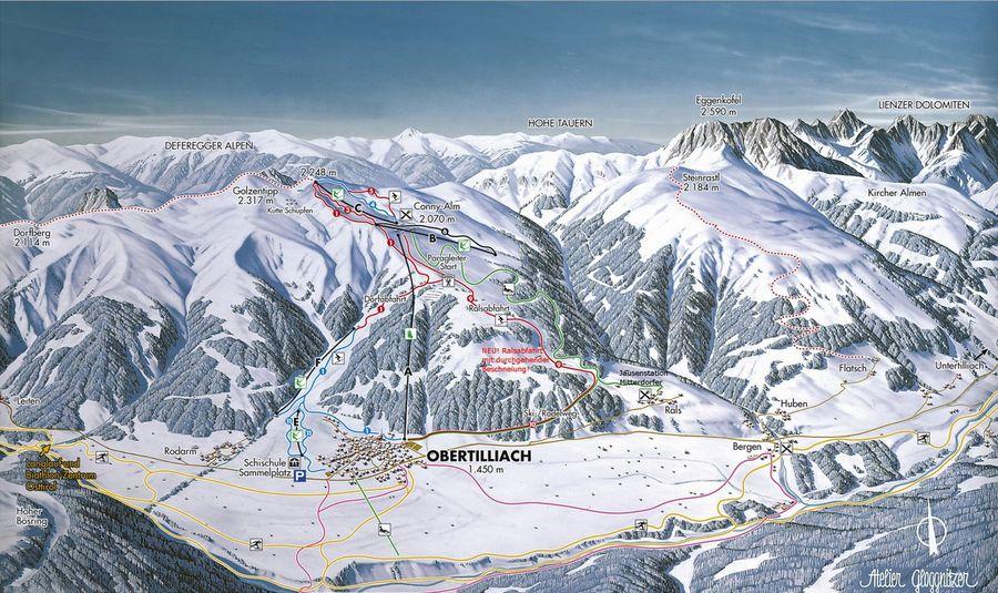 Familien Skigebiet Golzentipp Obertiliach Osttirol -  Karte