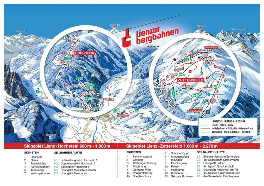 Skigebiet Zettersfeld & Hochstein Lienz in Osttirol - Karte