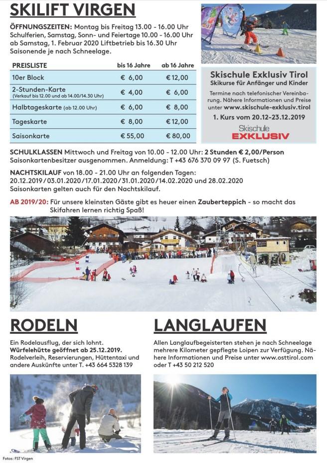Skilift Virgen - Gültig für das Familienskigebiet Virgen