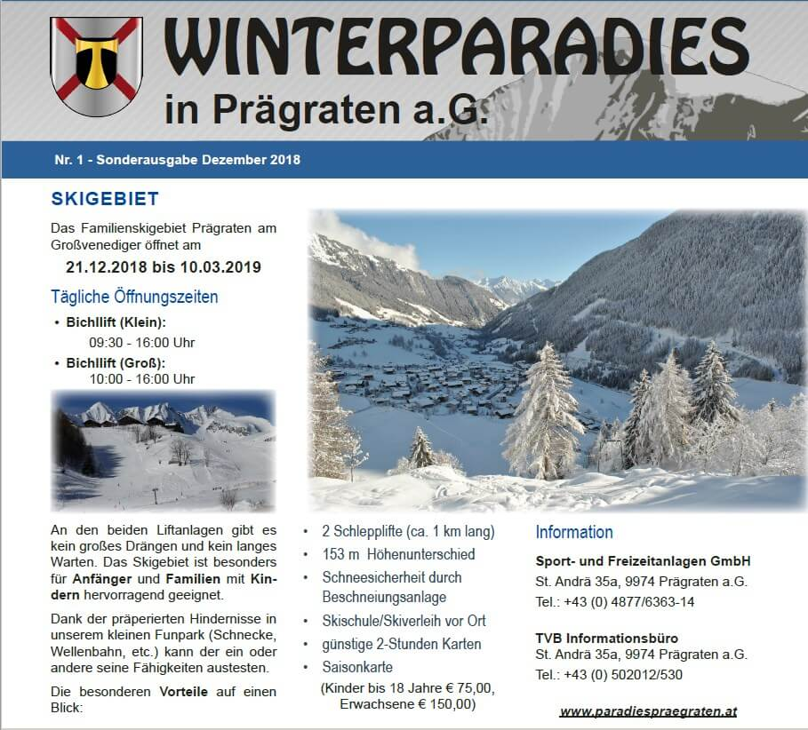 Flyer Winter Informationen über Prägraten am Großvenediger im Virgental